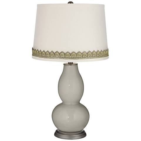 Requisite Gray Double Gourd Table Lamp with Scallop Lace Trim