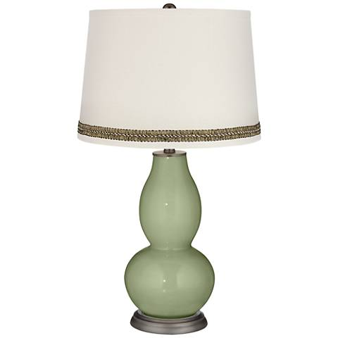 Majolica Green Double Gourd Table Lamp with Wave Braid Trim