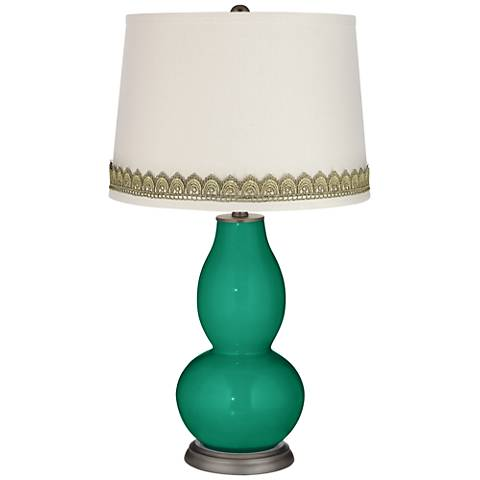 Leaf Double Gourd Table Lamp with Scallop Lace Trim