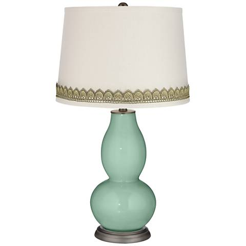Grayed Jade Double Gourd Table Lamp with Scallop Lace Trim