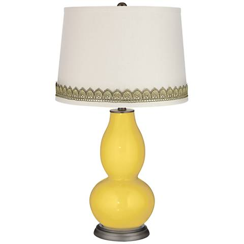 Lemon Zest Double Gourd Table Lamp with Scallop Lace Trim