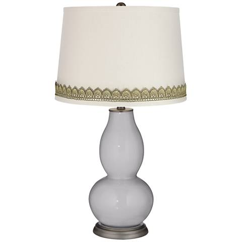 Swanky Gray Double Gourd Table Lamp with Scallop Lace Trim