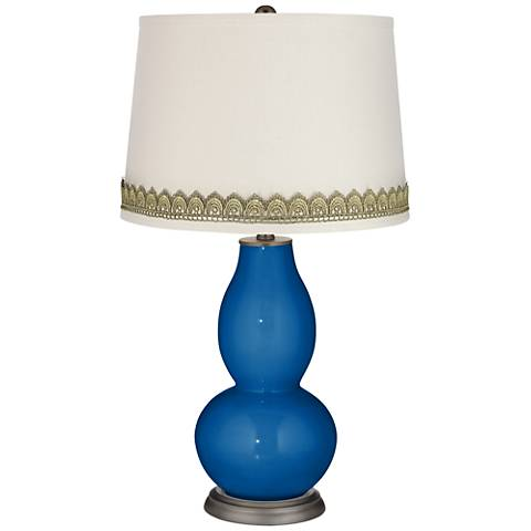 Hyper Blue Double Gourd Table Lamp with Scallop Lace Trim