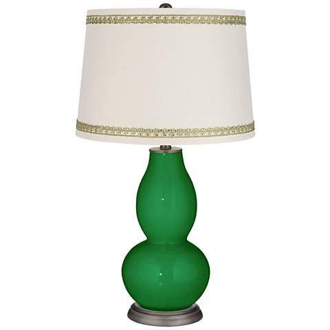 Envy Double Gourd Table Lamp with Rhinestone Lace Trim