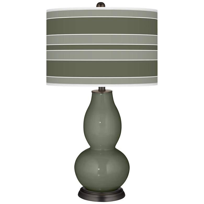 Deep Lichen Green Bold Stripe Double Gourd Table Lamp