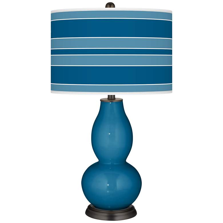 Mykonos Blue Bold Stripe Double Gourd Table Lamp