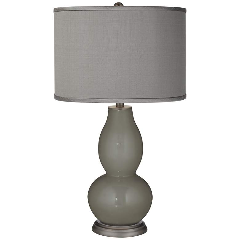 Gauntlet Gray - Gray Polyester Double Gourd Table Lamp