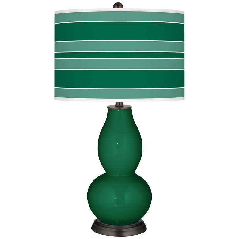 Greens Bold Stripe Double Gourd Table Lamp