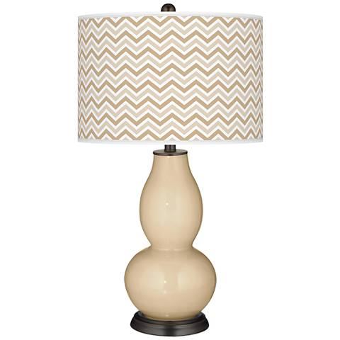 Colonial Tan Narrow Zig Zag Double Gourd Table Lamp