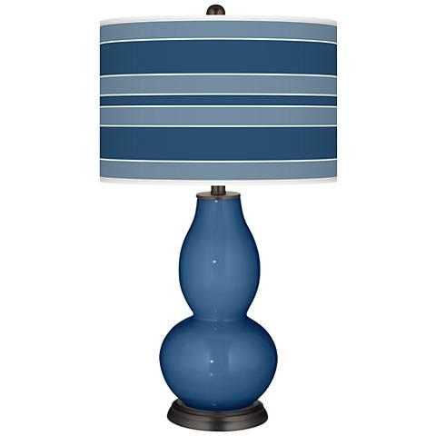 Regatta Blue Bold Stripe Double Gourd Table Lamp