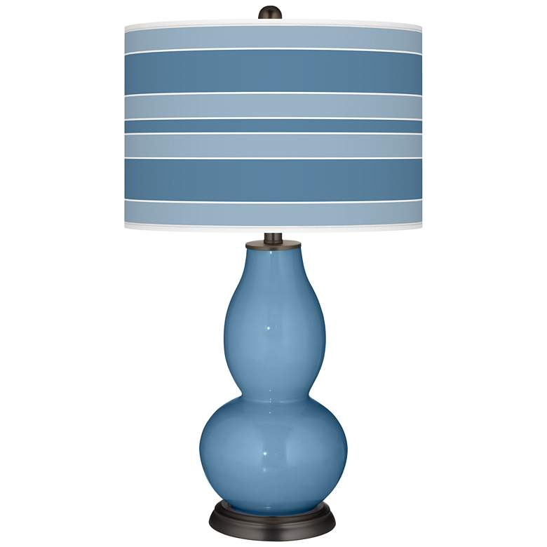 Secure Blue Bold Stripe Double Gourd Table Lamp