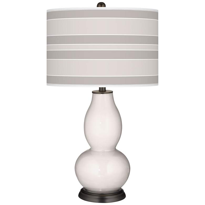 Smart White Bold Stripe Double Gourd Table Lamp