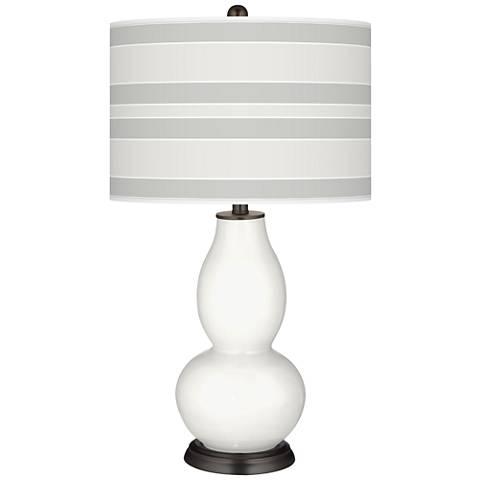 Winter White Bold Stripe Double Gourd Table Lamp