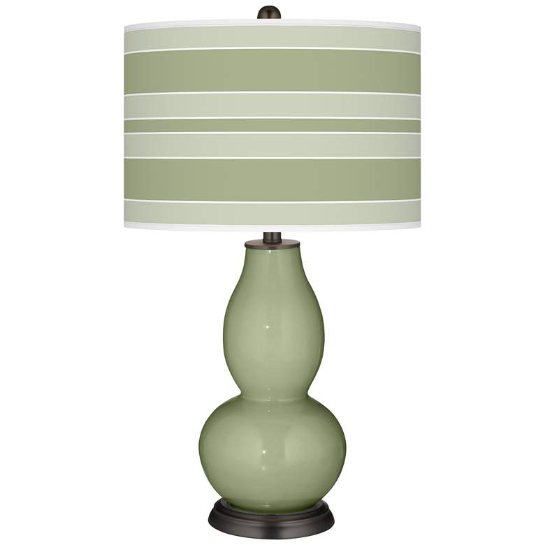 Majolica Green Bold Stripe Double Gourd Table Lamp