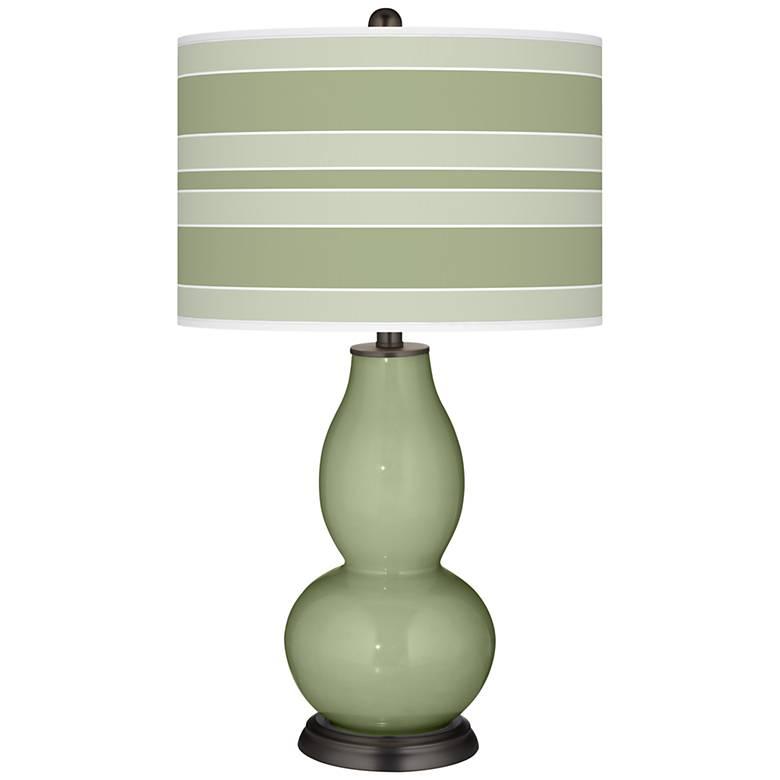 Majolica Green Bold Stripe Double Gourd Table Lamp