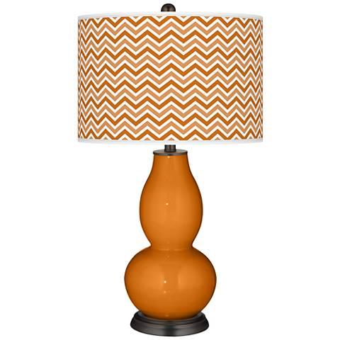 Cinnamon Spice Narrow Zig Zag Double Gourd Table Lamp