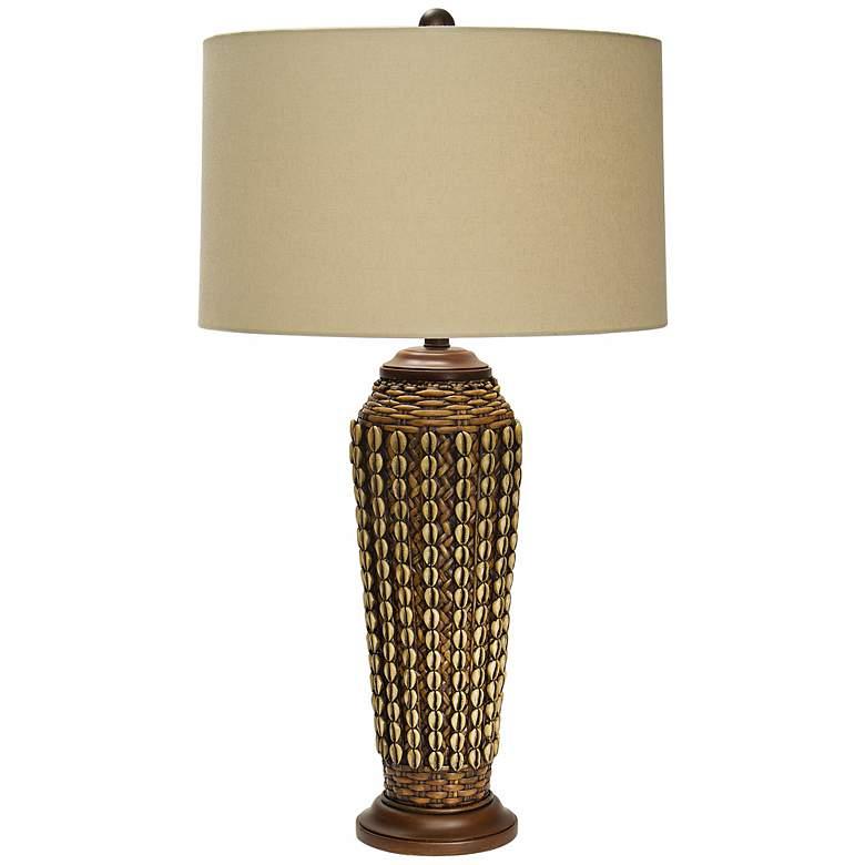 Natural Light Segay Tower Wicker Table Lamp