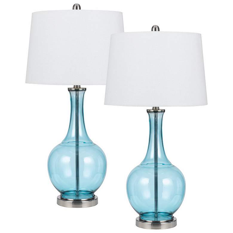 Set of 2 Colored Glass Sky Blue Table Lamps