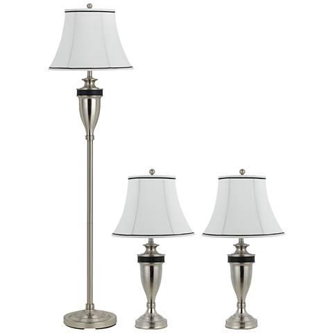 Matte Steel 3-Piece Table and Floor Lamp Set