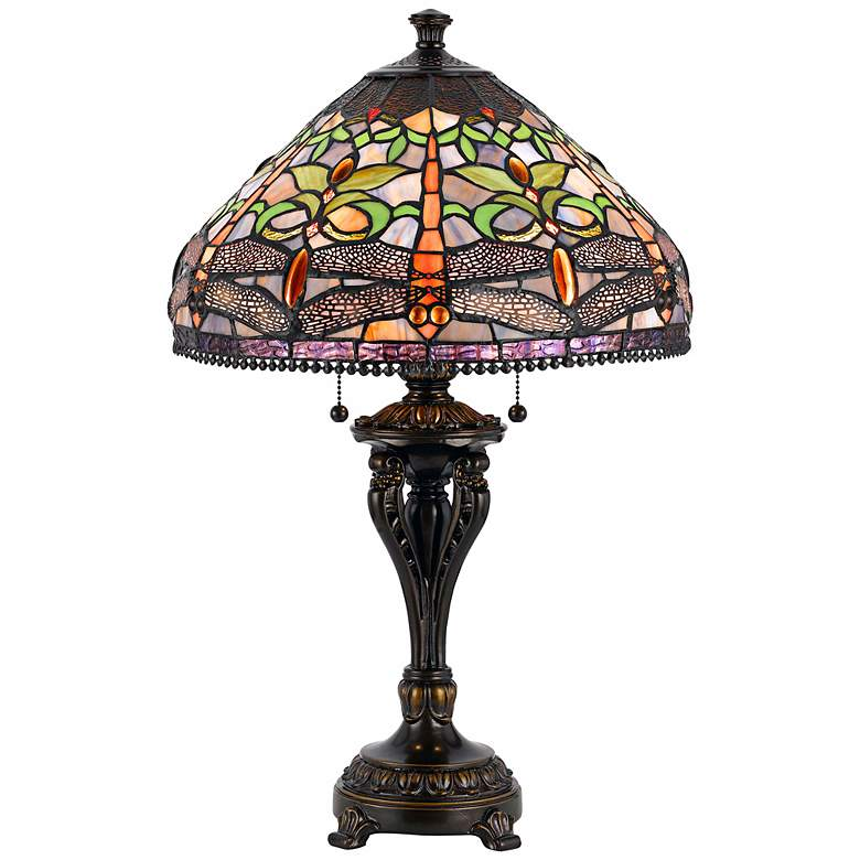 Dragonfly Tiffany-Style Antique Bronze Table Lamp