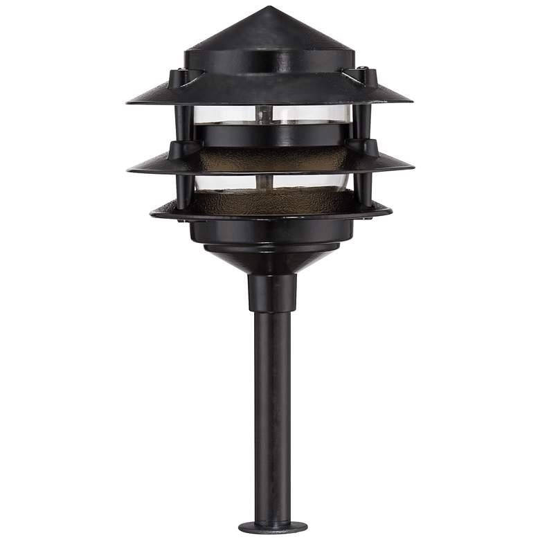 "Three-Tier Pagoda 12"" H Black LED Landscape Path Light"