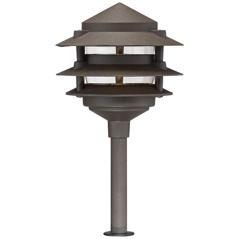 "Three-Tier Pagoda 12"" H Bronze LED Landscape Path Light"