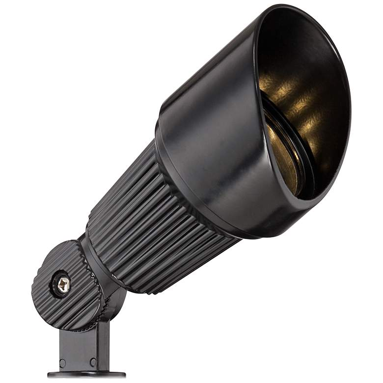 "Hooded Low Voltage Black 7 1/2"" High LED Landscape Spotlight"