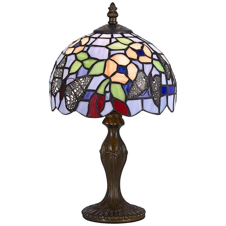 """Butterfly And Flower 14"""" High Tiffany Accent Lamp"""