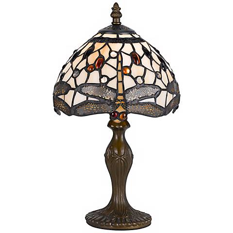 """Dragonfly 14"""" High Tiffany Accent Lamp"""