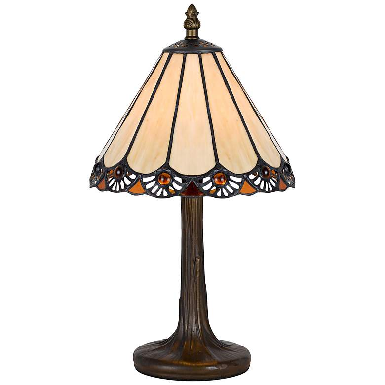 """Fan Trim 13 1/2""""H Antique Brass Tiffany Style Accent Lamp"""
