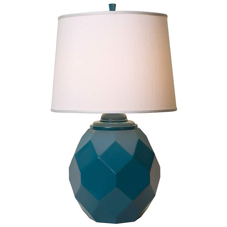 Thumprints Jewel Cast Metal Teal Blue Table Lamp