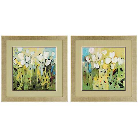 """Set of 2 White Tulips 28"""" Square Framed Floral Wall Art"""