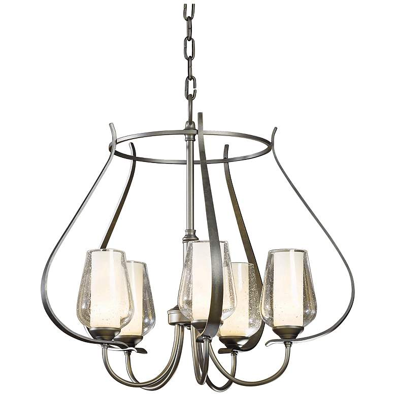 """Hubbardton Forge Flora 22 1/4"""" Wide Seeded Glass Chandelier"""