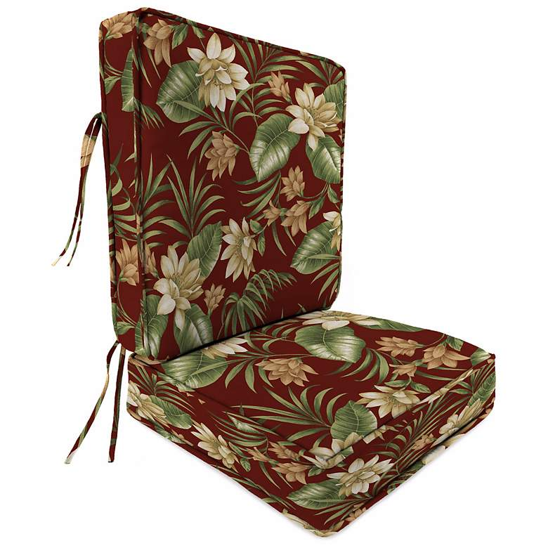 Pompei Cream and Olive Boxed Outdoor Seat Cushion