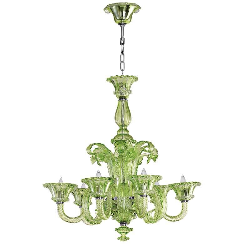 La Scala Green Glass Chandelier