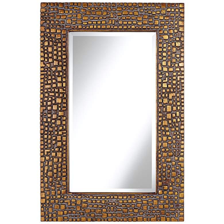 "Savla Textured Relief Bronze 24"" x 36"" Wall Mirror"
