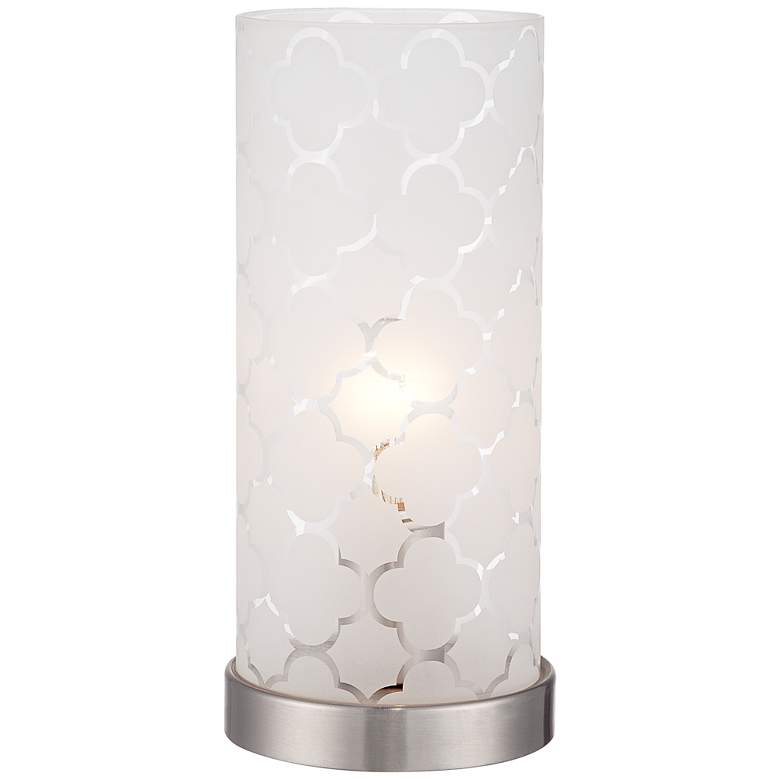 """Babette 11"""" High White Glass Cylinder Accent Lamp"""