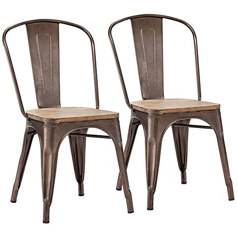 Set of 2 Zuo Elio Rusty Elm Wood Dining Chairs