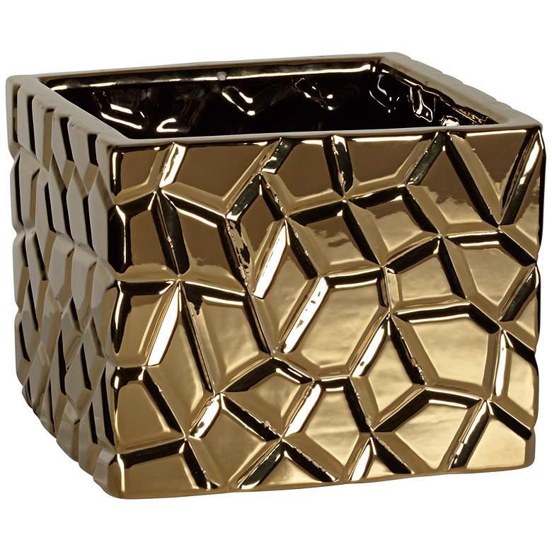 "Gold Crackle 6 1/2"" High Indoor Ceramic Pot"
