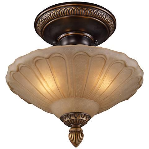 "Restoration Collection 12"" Wide Golden Bronze Ceiling Light"