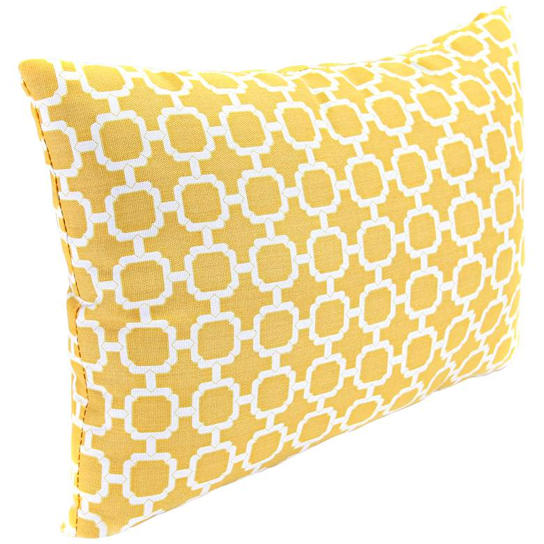 """Yellow and Cream 18"""" Various Edge Indoor-Outdoor Pillow"""