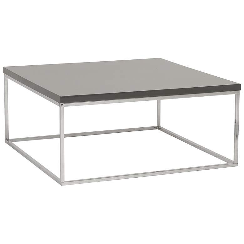 "Teresa 36"" Square High-Gloss Gray Coffee Table"