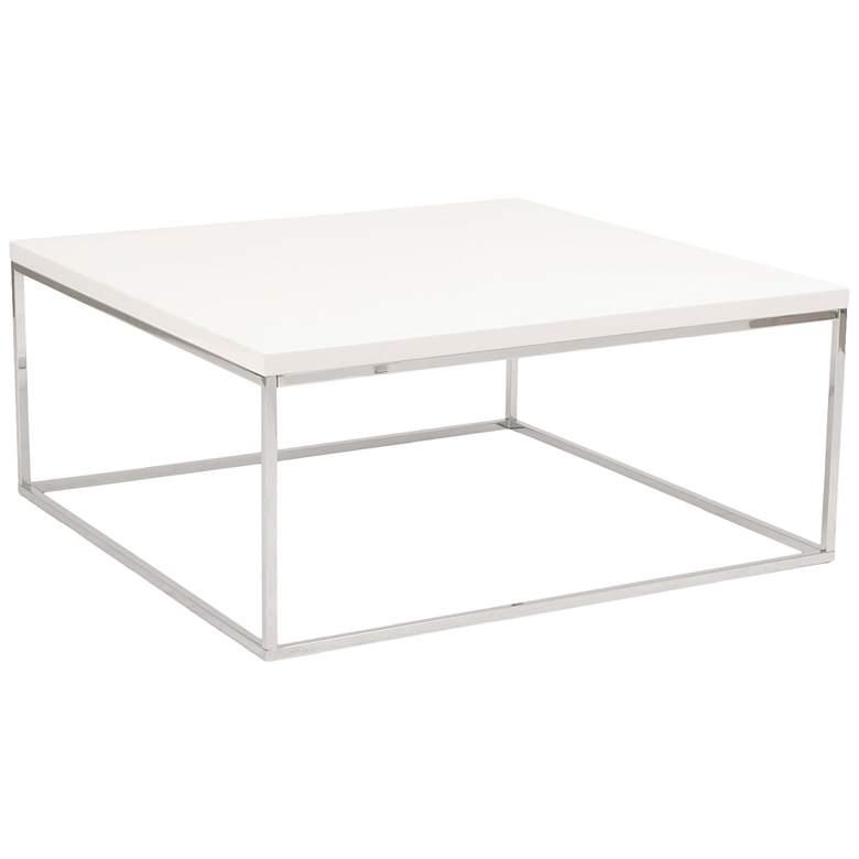 "Teresa 35 1/2"" Square High-Gloss White Modern Coffee Table"