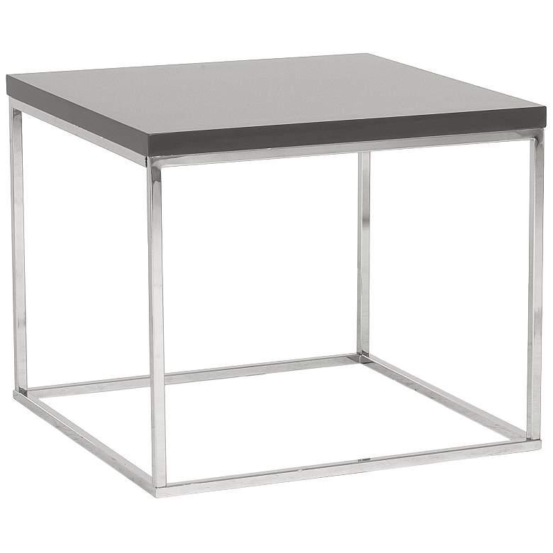 "Teresa 23 3/4"" Square High-Gloss Gray Modern Side Table"