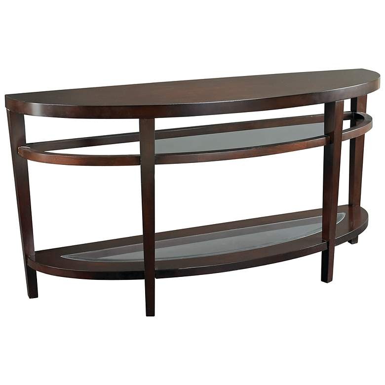 "Urbana 56"" Wide Glass and Wood Traditional Sofa Table"