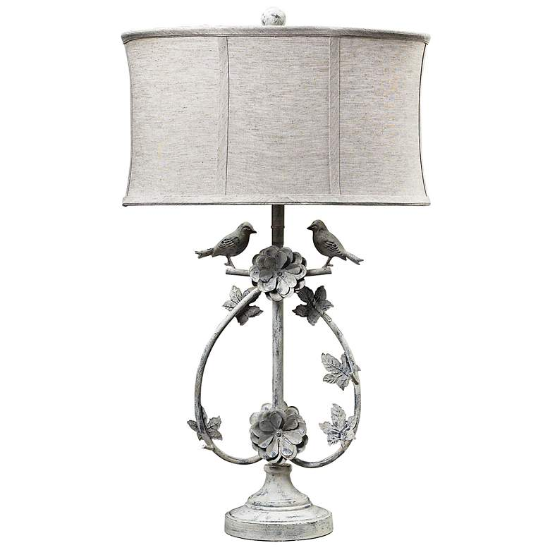 Saint Louis Heights Antique White Love Birds Table Lamp
