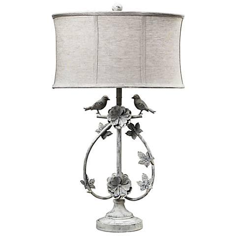 Saint Louis Heights Antique White Love Birds Table Lamp