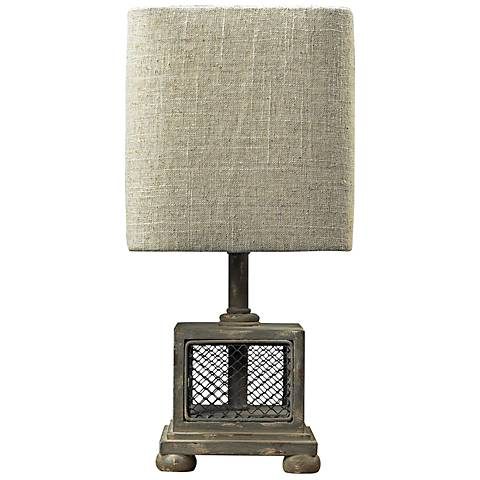 "Delambre 13"" High Montauk Grey Mesh Accent Table Lamp"