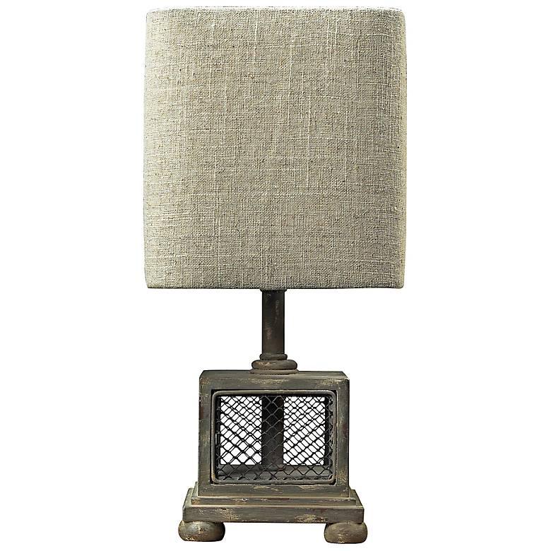 "Delambre 13"" High Montauk Grey Mesh Accent Table Lamp"