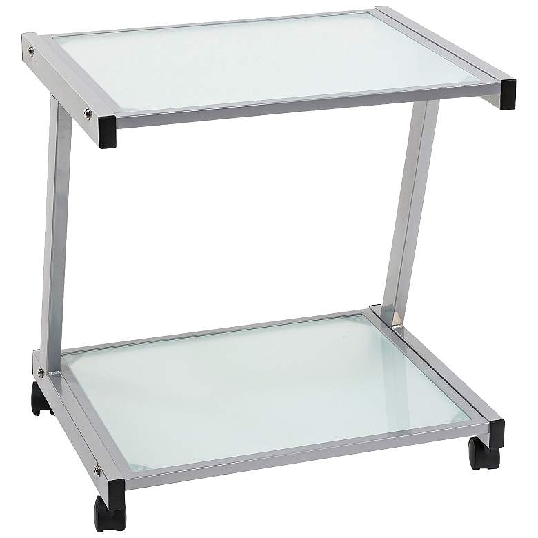 """L 22"""" High Aluminum and Frosted Glass Printer"""